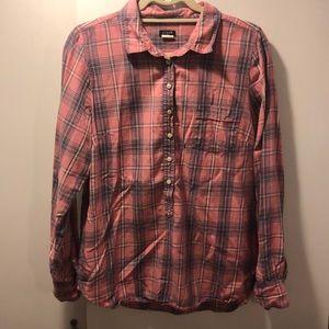 Jcrew pullover cotton plaid blouse - M